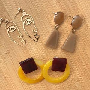 3 Pair of Trendy Earrings